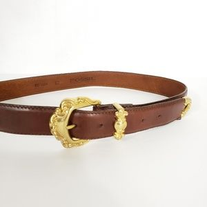 Fossil Brown Leather Belt With Gold Toned Hardware